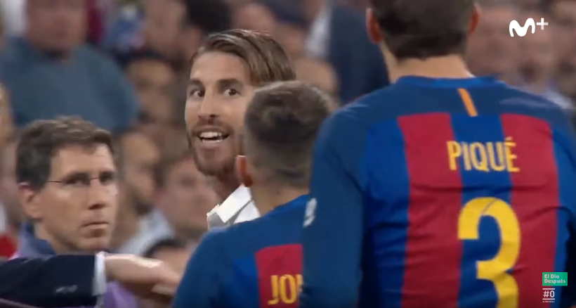 Ramos gives Pique daggers after he supposedly convinced the referee to send him off last season