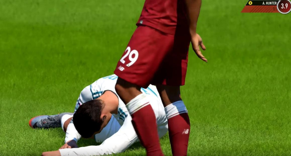 The Portuguese is brutally tackled by Hunter during pre-season