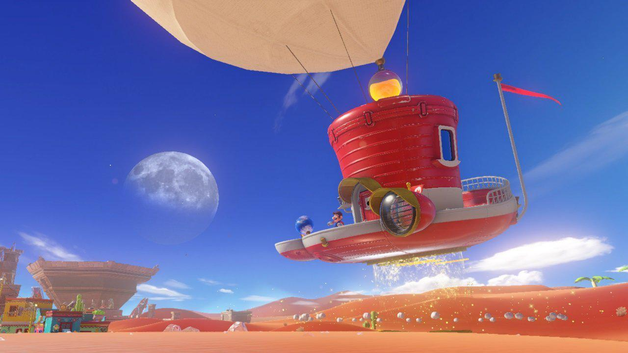 Mario's vessel is a charming hat-shaped space ship – you can even explore the interior