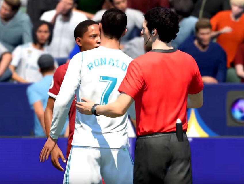 Ronaldo starts to get annoyed by Hunter's relentless hard tackles – and squares up to him