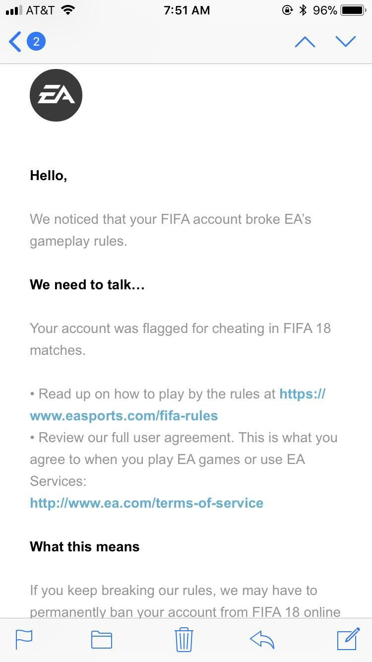 The email from EA threatened to ban the gamer
