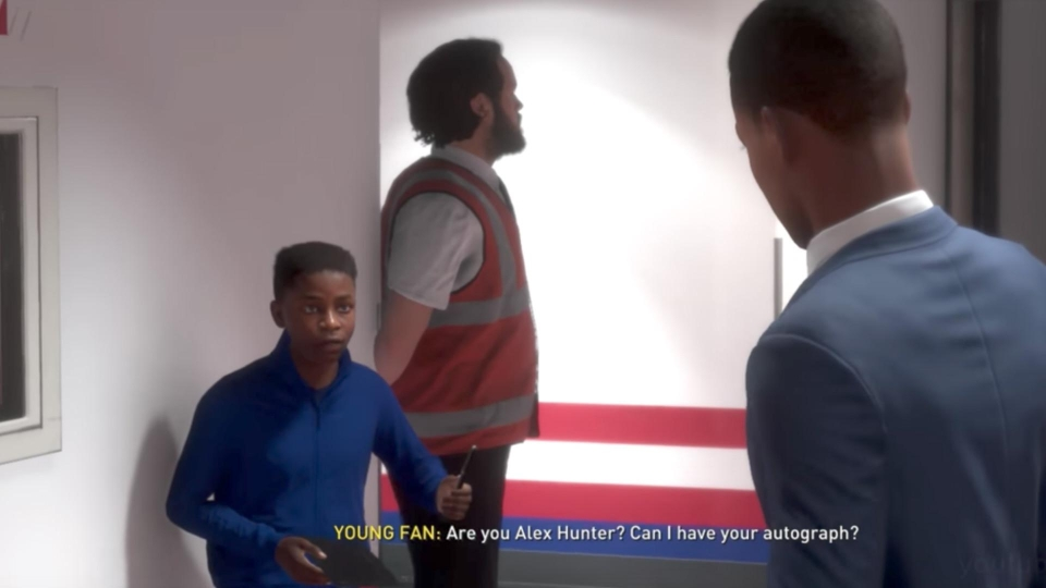 The young fan asks Hunter for his autograph in FIFA 17