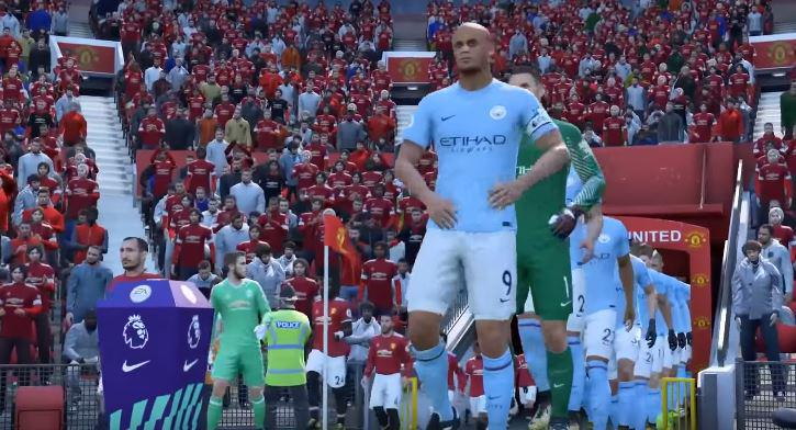 The players walk out – with Manchester City having the clear height advantage