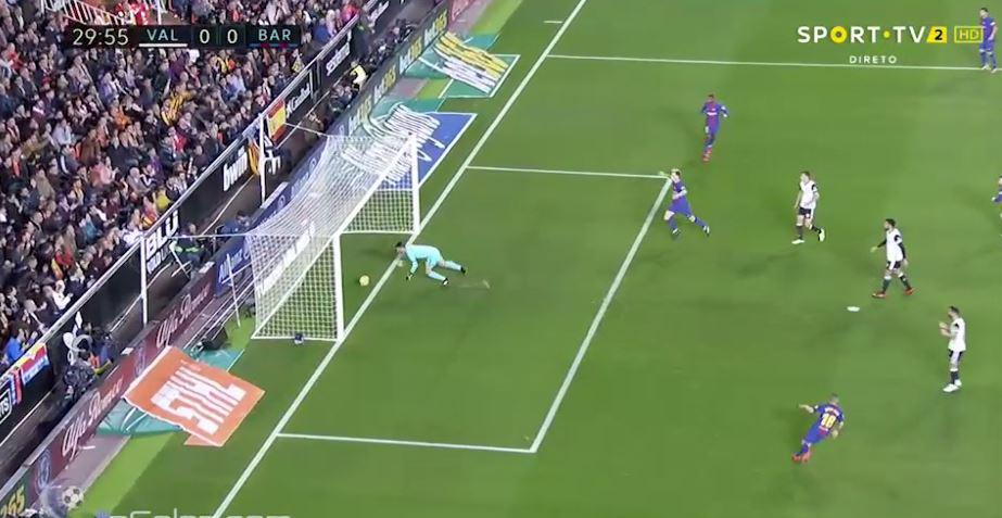 But Neto spills the ball over the line