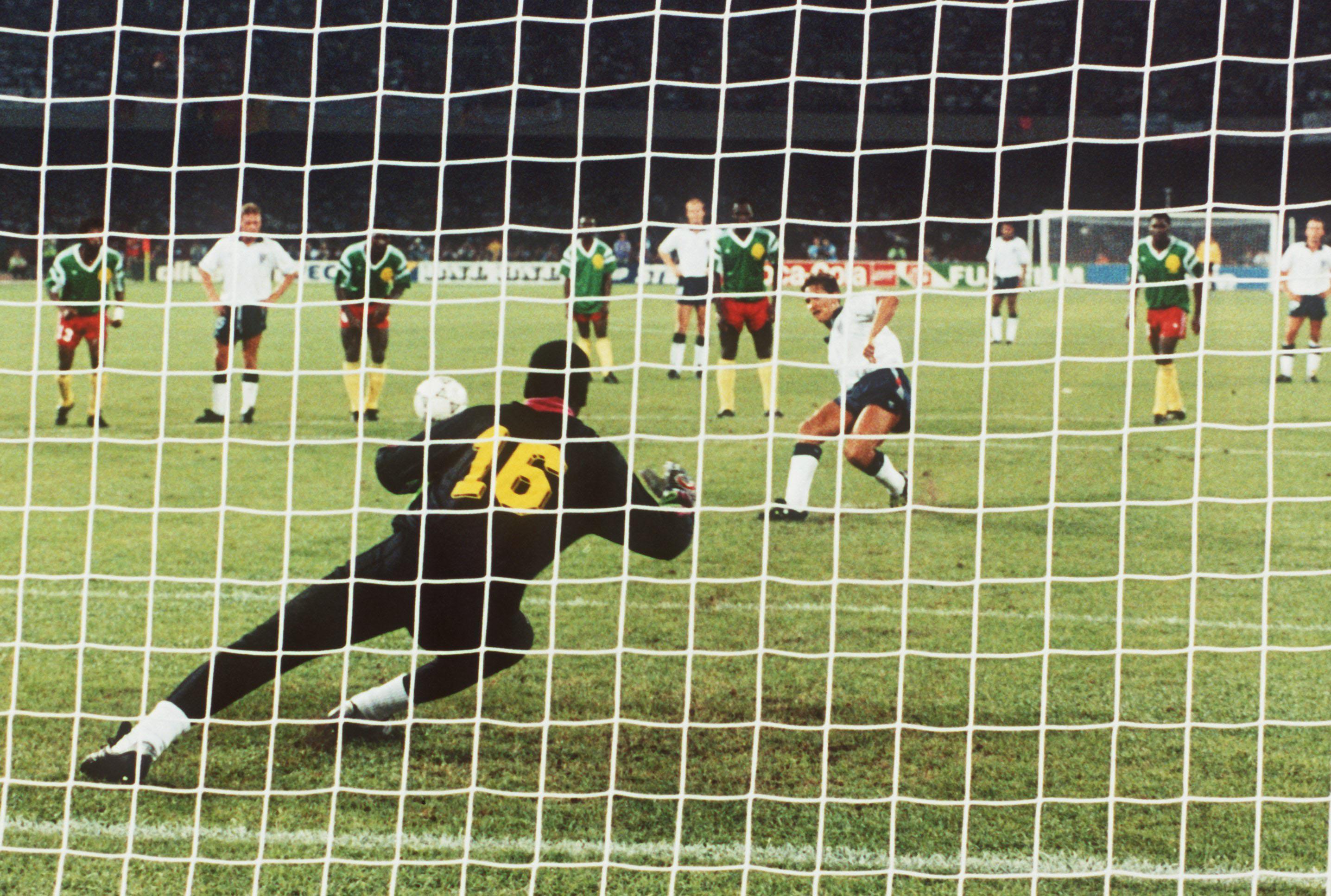N'Kono faces a penalty taken by Gary Lineker