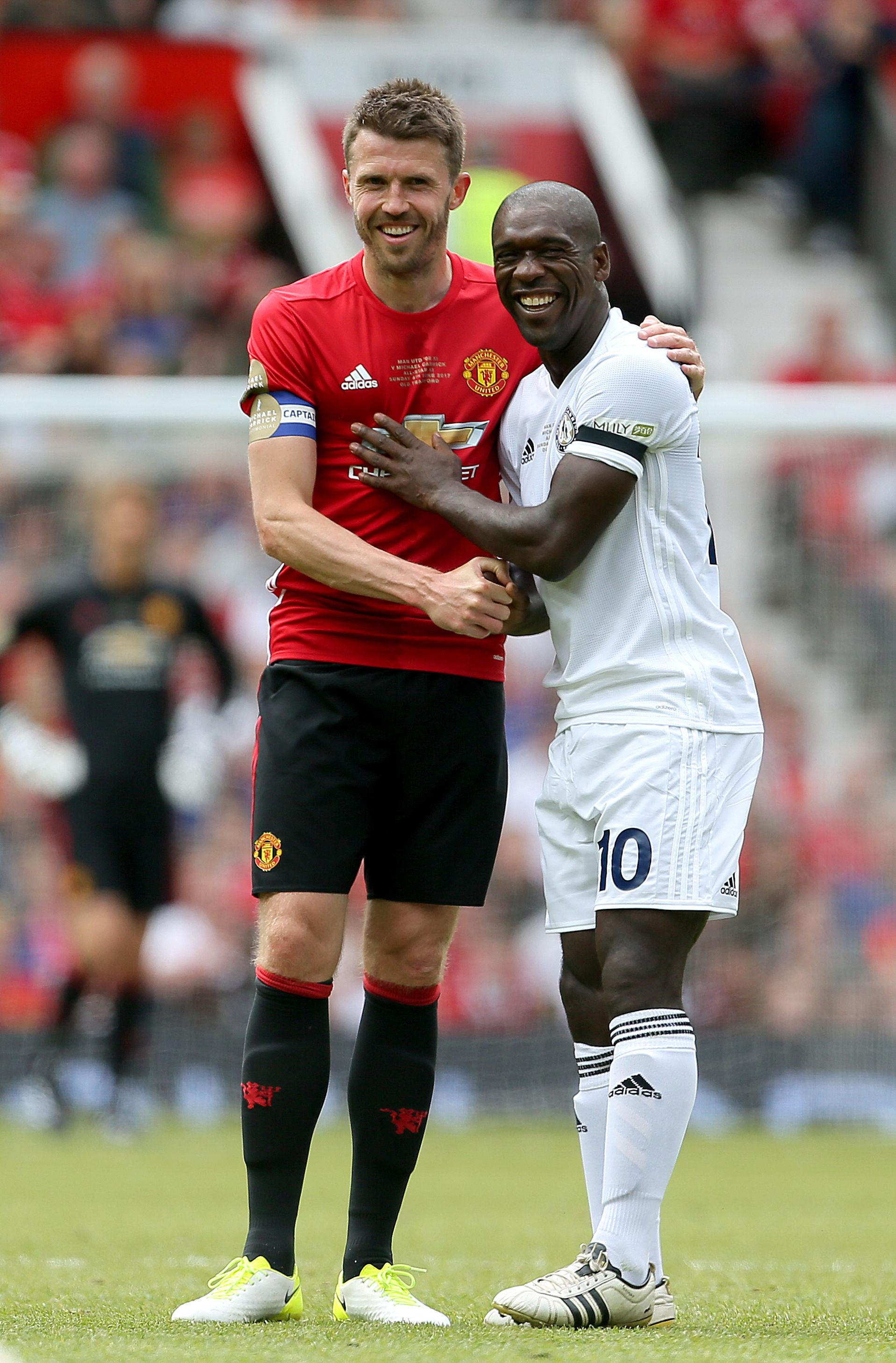 Carrick with Clarence Seedorf during his Testimonial back in June