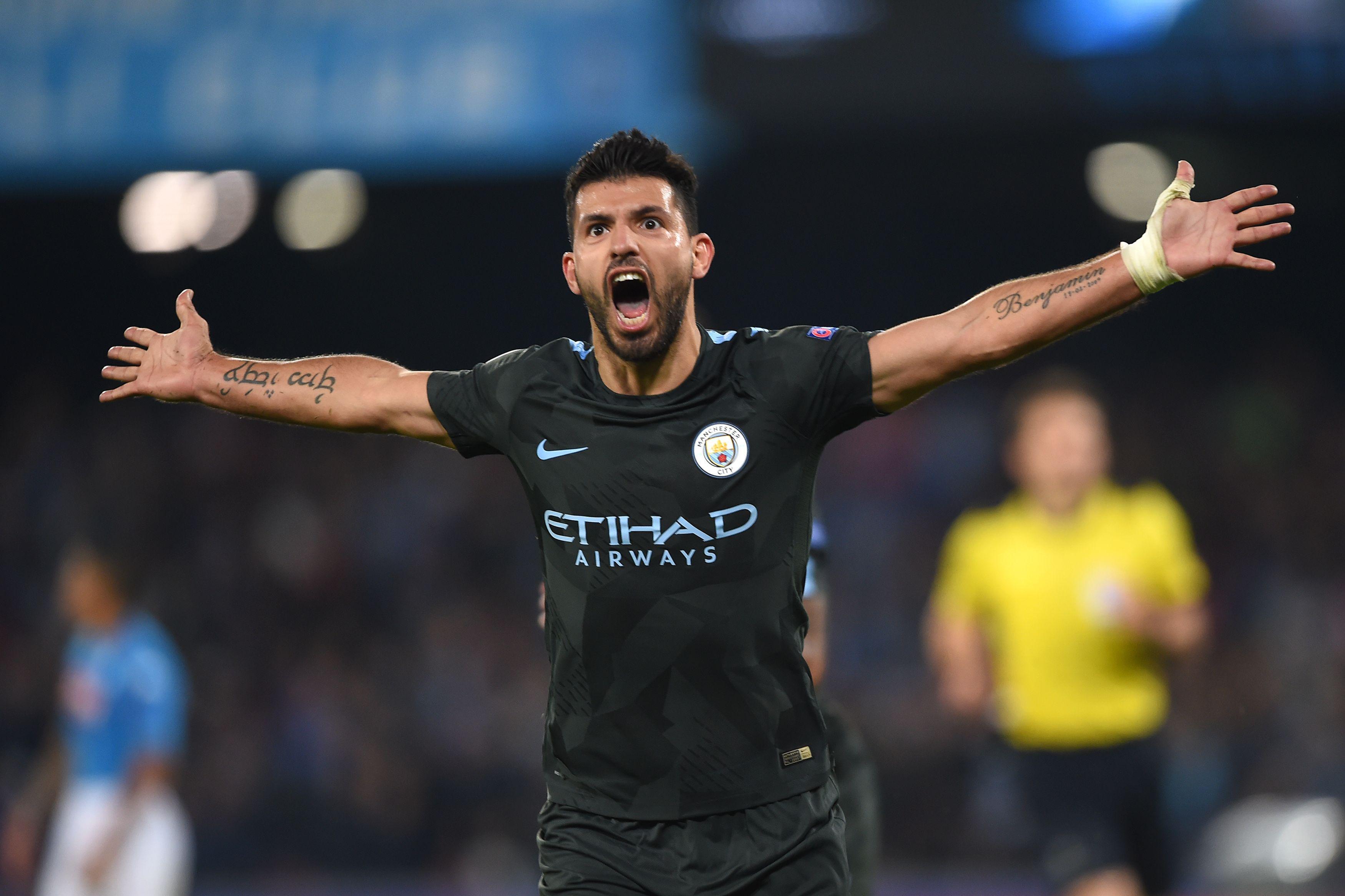 Aguero celebrates breaking the City record