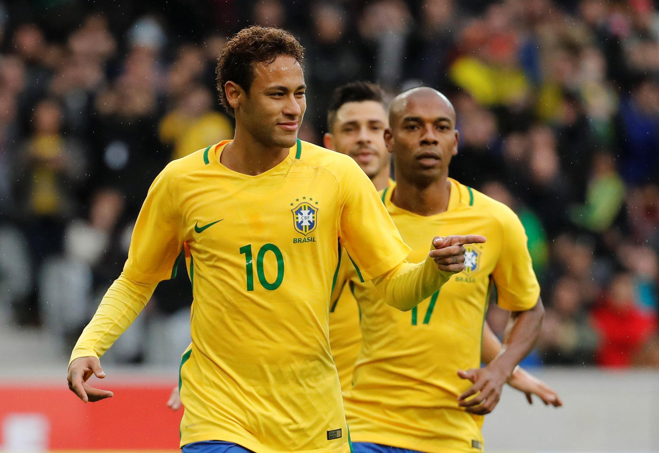Neymar celebrates netting for Brazil but is unhappy with rumours over his move to PSG
