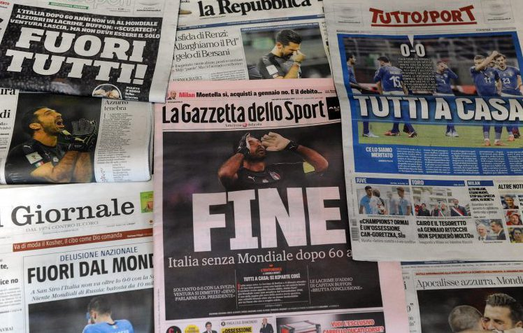 The Italian press responded to their World Cup exit in typically calm and measured fashion