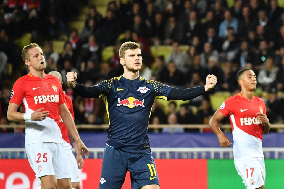 Werner celebrates a goal for Leipzig in the Champions League versus Monaco