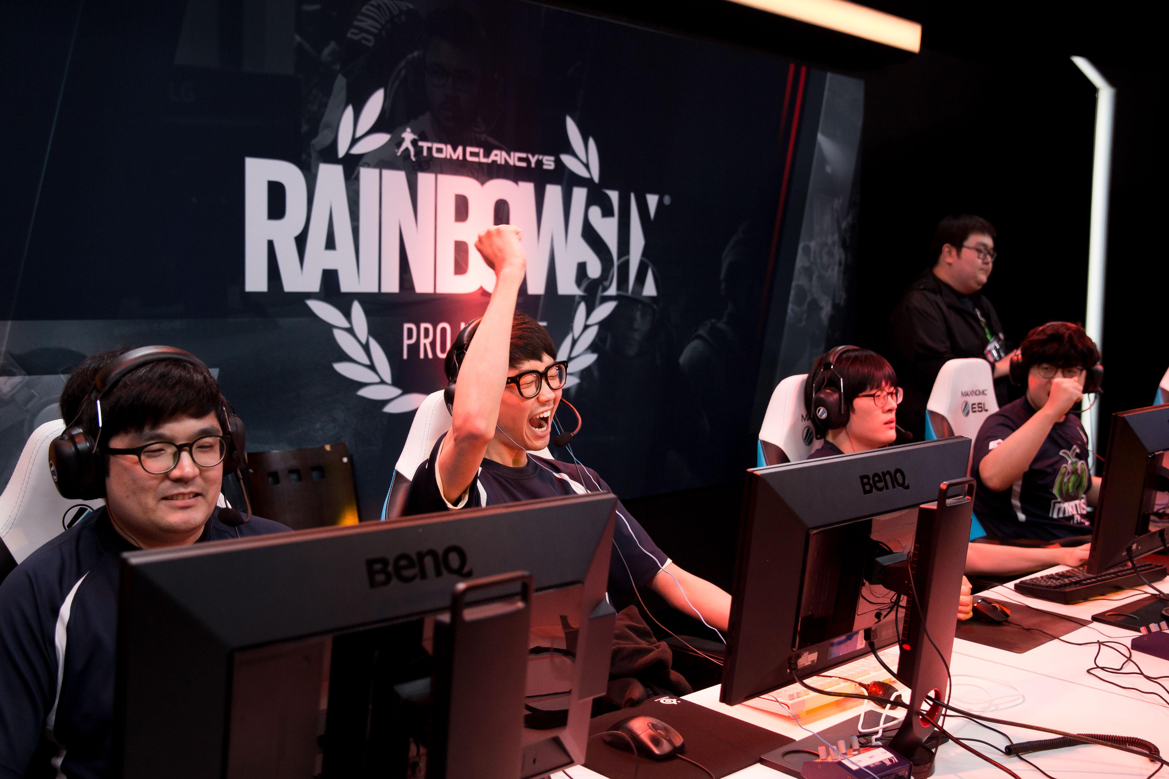 Team Mantis FPS celebrate coming second in the Sydney Rainbow 6 finals – and their place in the Sao Paulo event