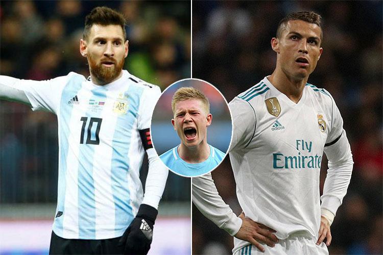 Natiijada sawirka Kevin De Bruyne, Ronaldo and Messi