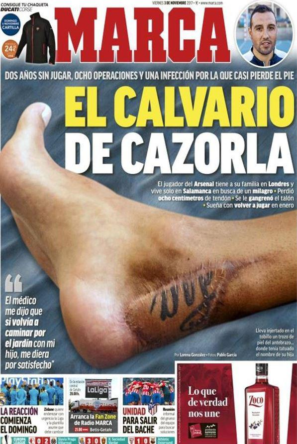 Cazorla's foot was on the front cover of Marca last year