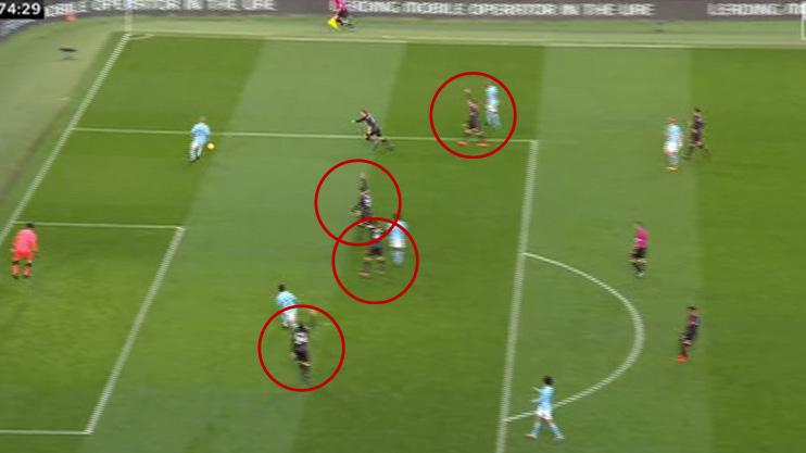 Four Arsenal players watched rather than reacted