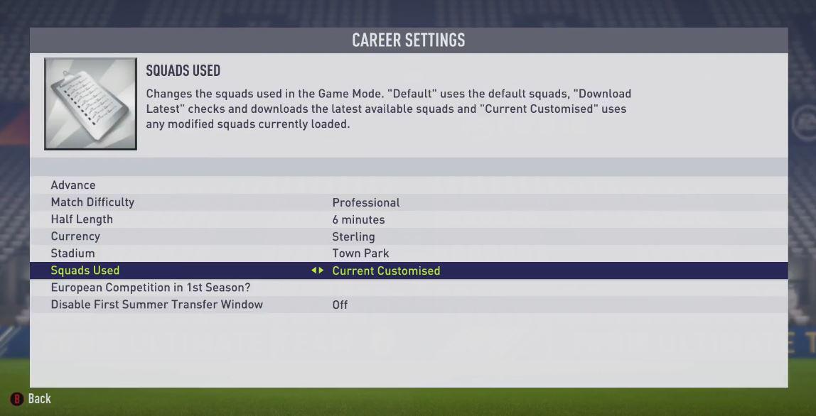 Make sure you select this option or else your tweaked player will not be in the squad