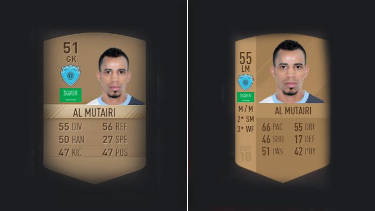 His FIFA 17 card, left, compared with this year's – turns out he's better as an outfield player
