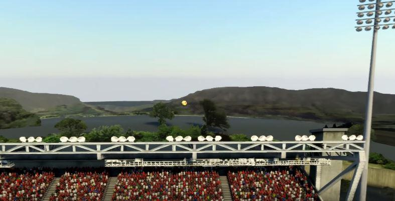 The ball went so high that you can see mountains and trees outside the stadium