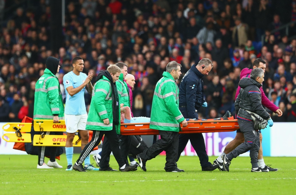 And he's carried off the pitch