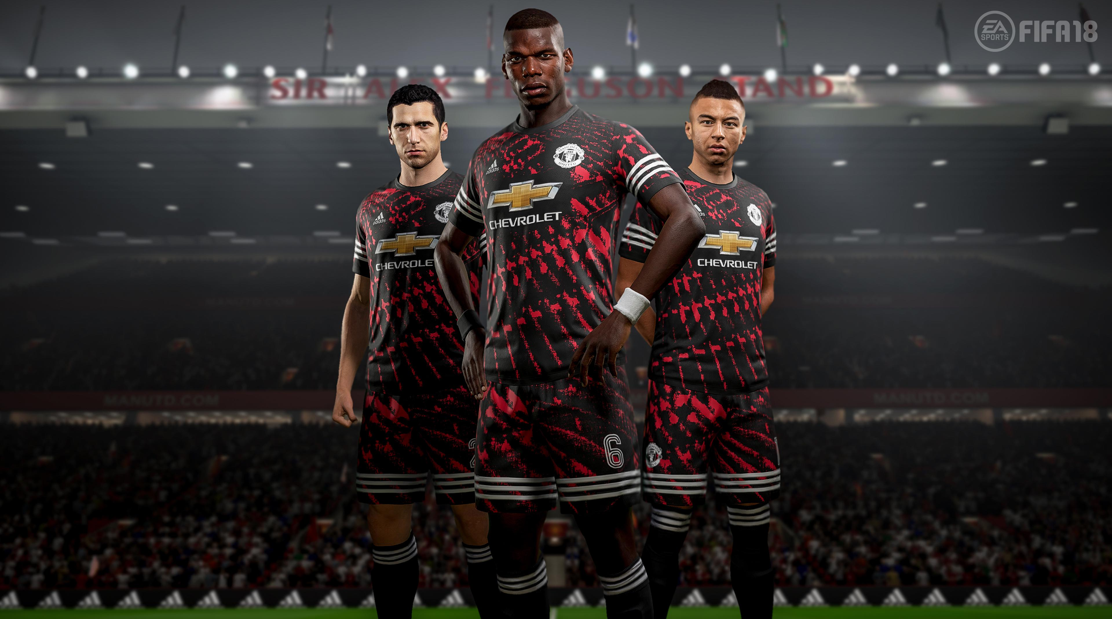 Manchester United players model the new kit in the game – although we'll never see it in real life