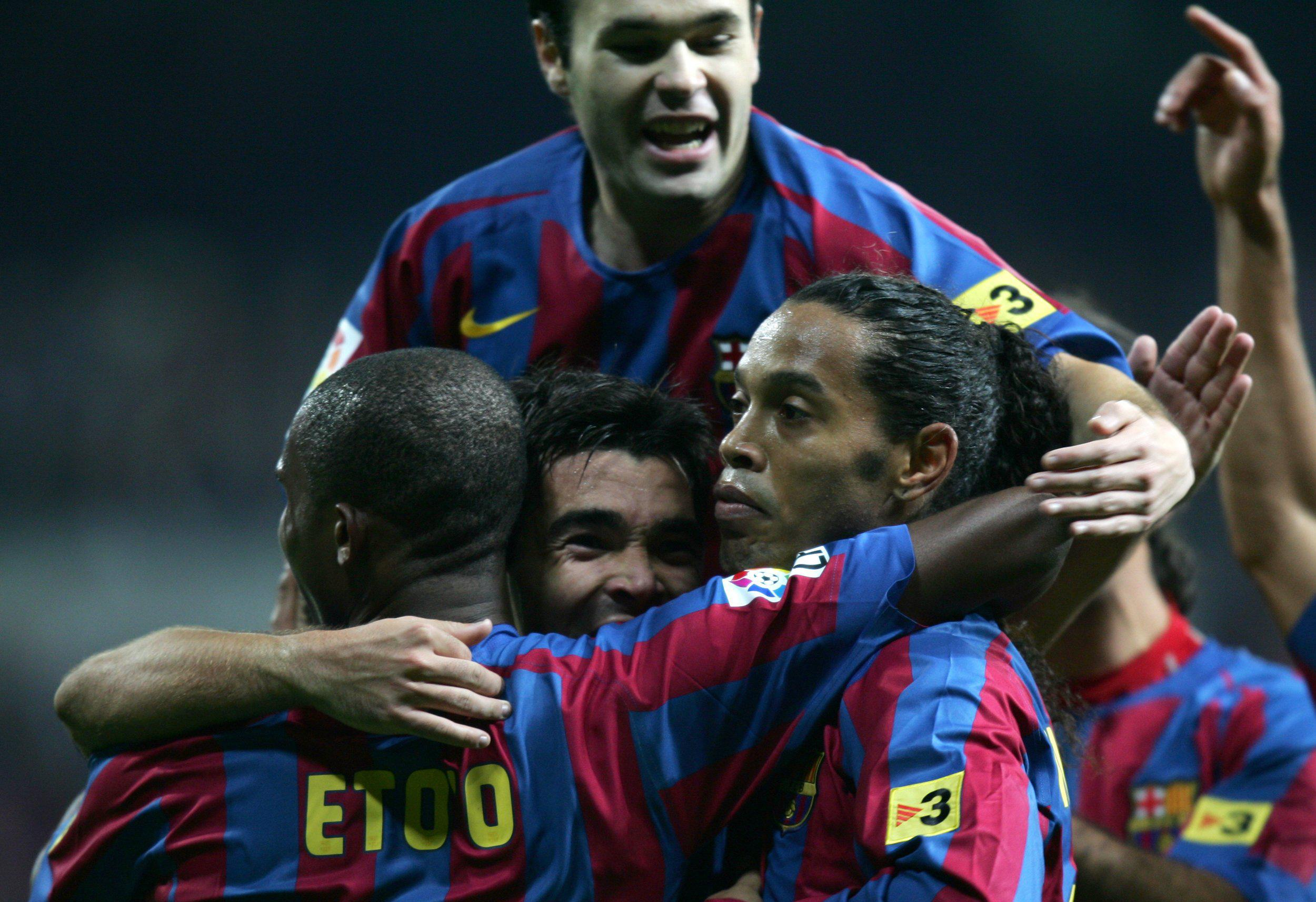Barca players celebrate after the Brazilian's first goal