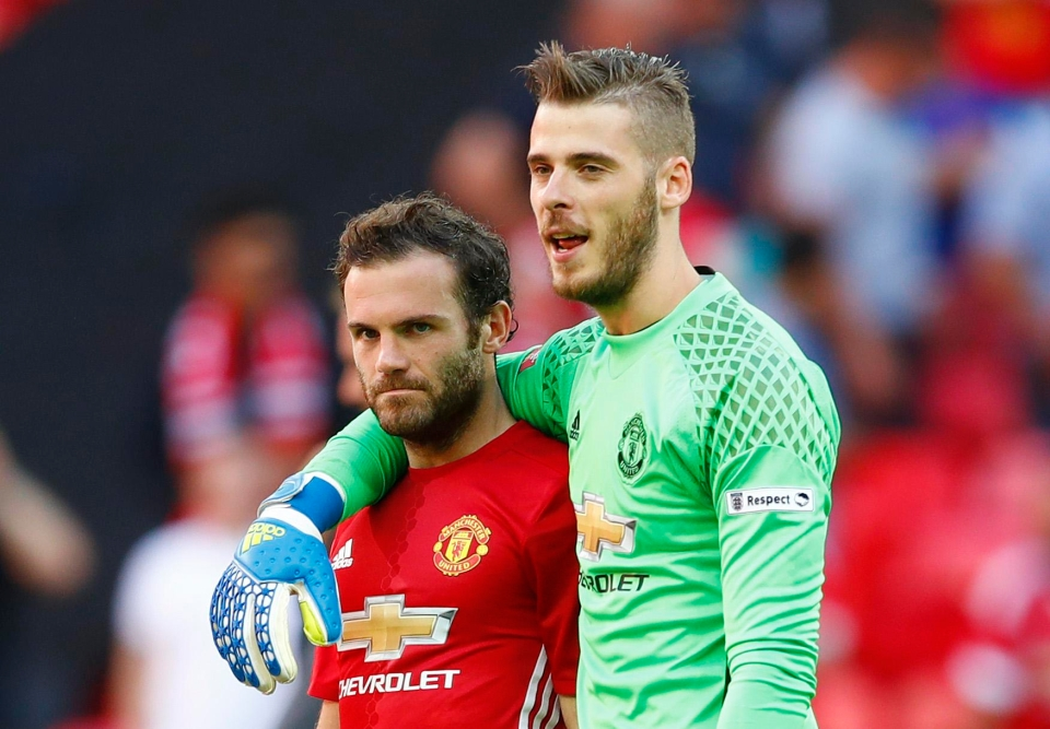 Mata has defended De Gea