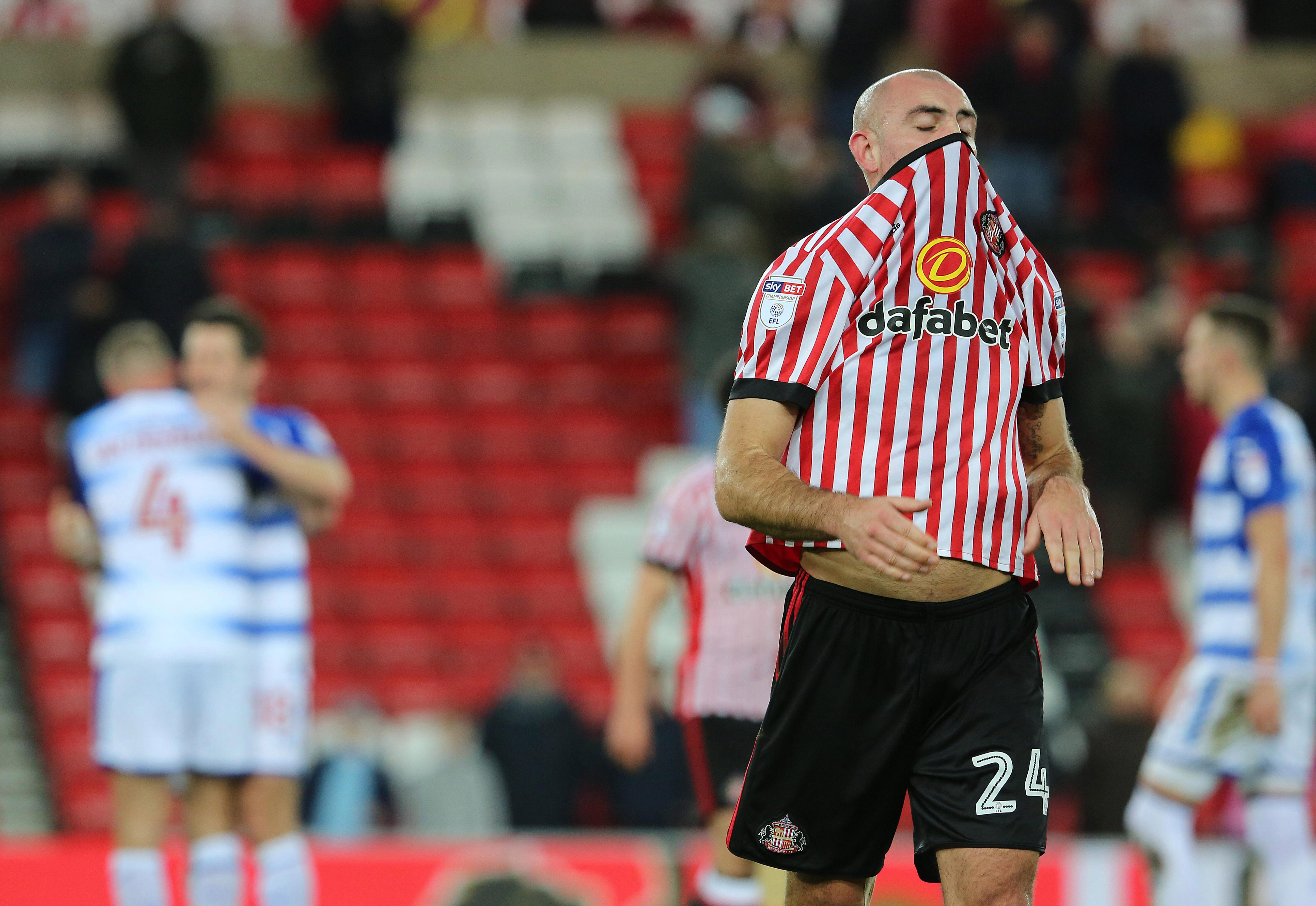 No wonder Darron Gibson pulled his shirt up over his nose