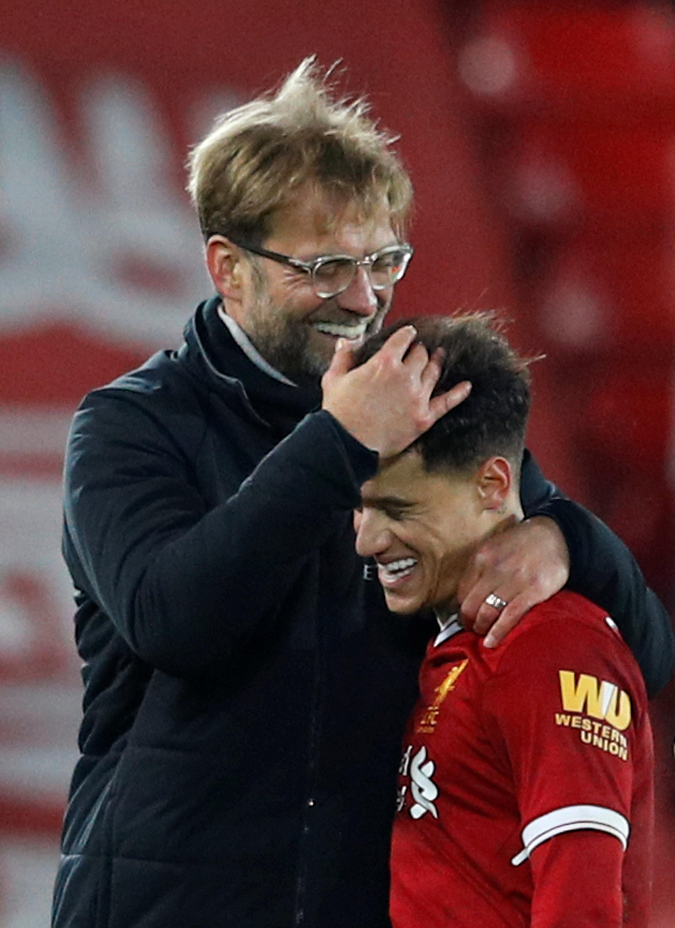 Klopp and Coutinho laughing at Barcelona's pathetic offer of £500million