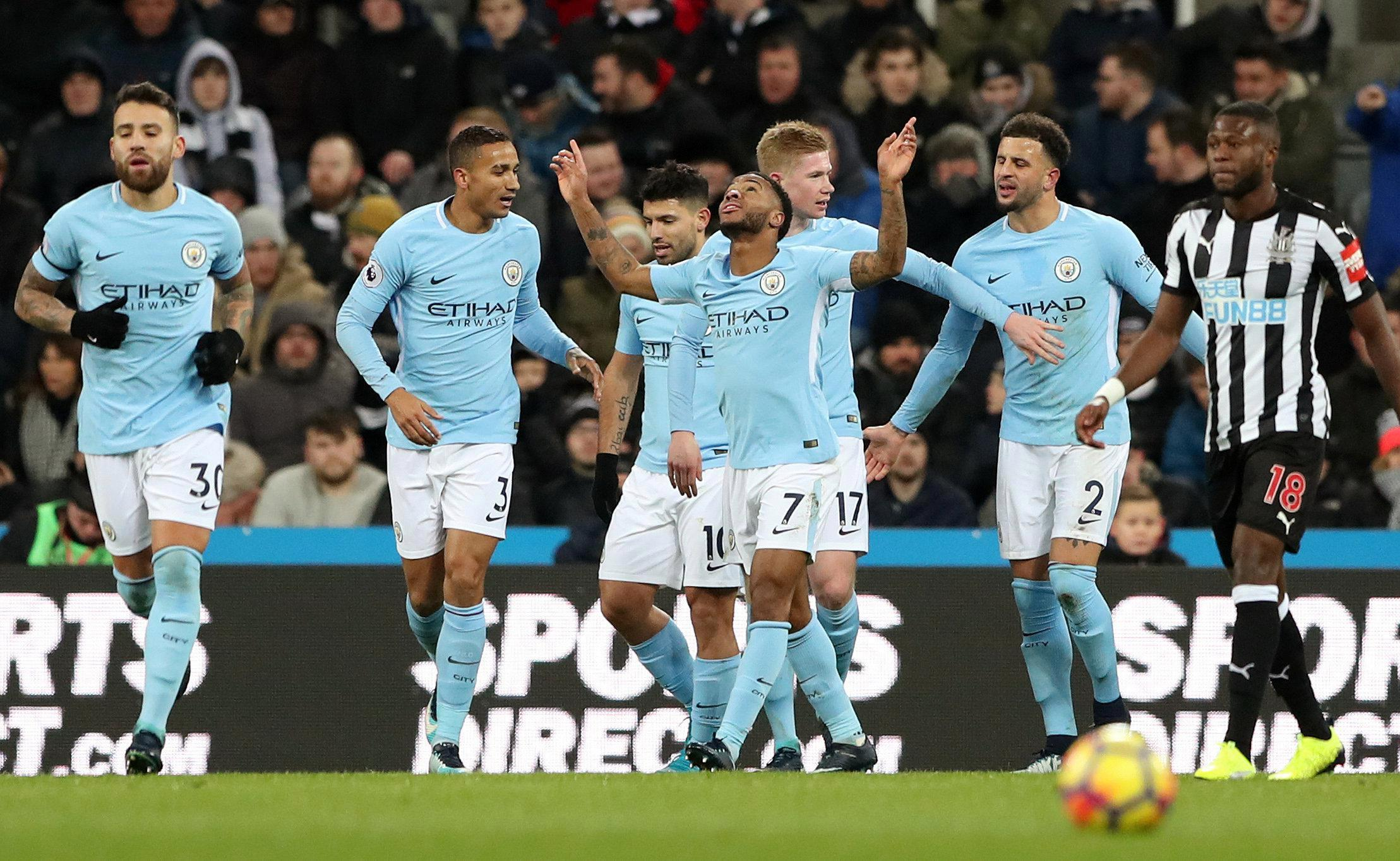 Raheem Sterling helped fire Manchester City 15 points clear at the top of the Premier League with victory at Newcastle