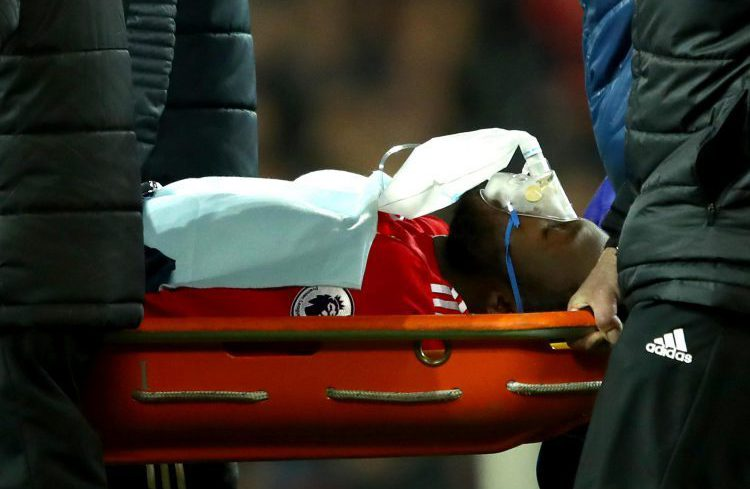 Lukaku was given an oxygen mask as he left the pitch