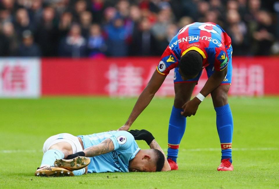 Crystal Palace ace Timothy Fosu-Mensah consoles Gabriel Jesus after injury
