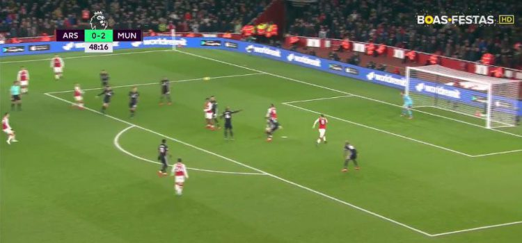 Ramsey is picked out by Alexis Sanchez's pass