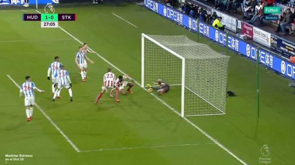 But Lossl somehow got down in time and recovered the loose ball