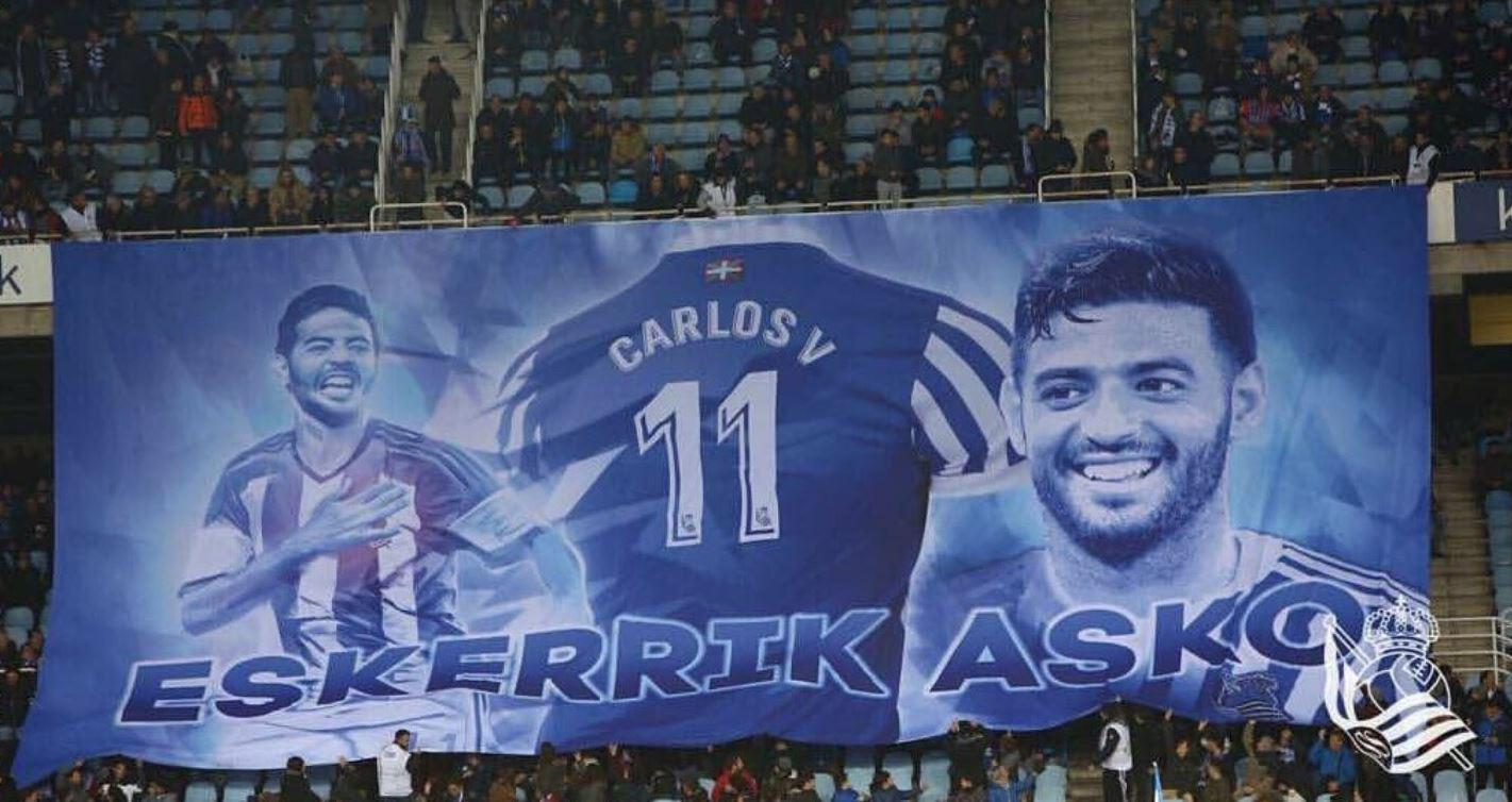 Sociedad fans pay tribute to the striker