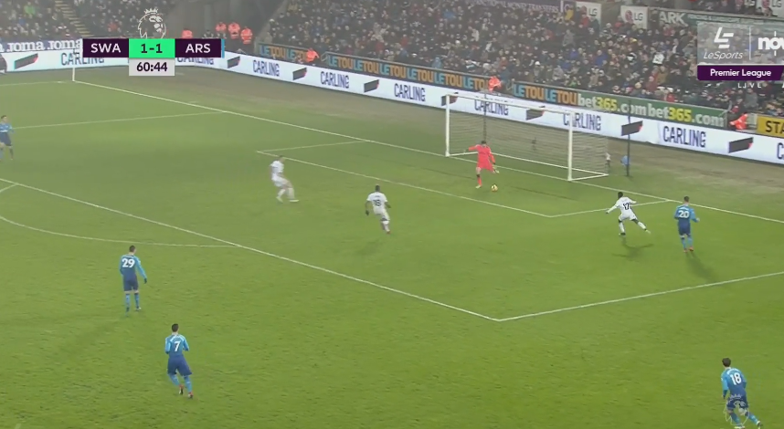 But with three Swansea attackers closing in, the goalie seemed to rush his clearance