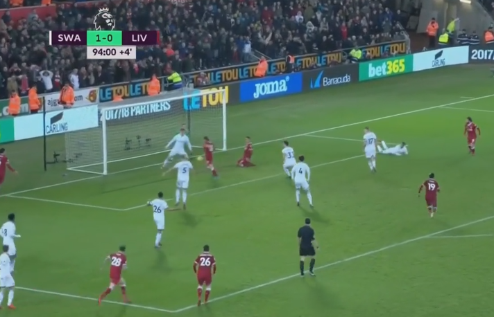 And falls to Lallana, who's only yards away from an open goal