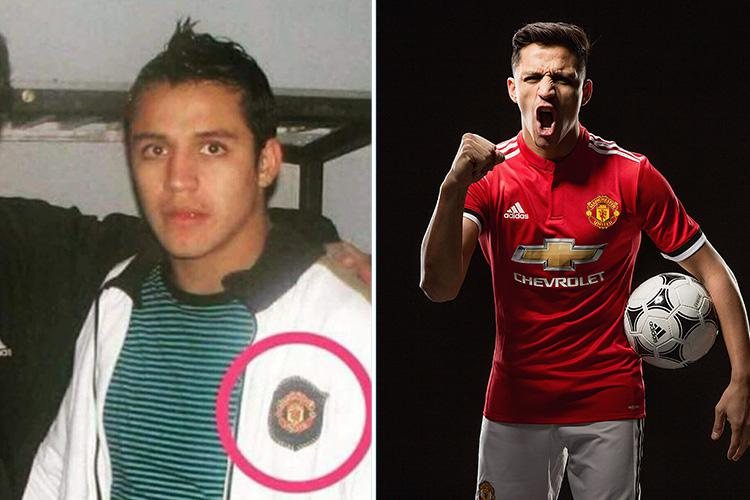 online store ca628 d3eeb Old photo emerges of Alexis Sanchez wearing a Man United ...