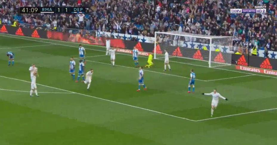 Ronaldo continued to stare down the referee as other Real players celebrated Bale's strike