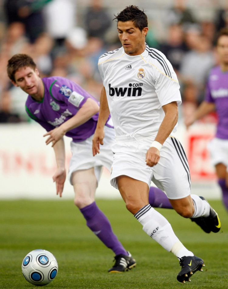 Ronaldo was subbed at half time in his real Madrid debut against Shamrock Rovers