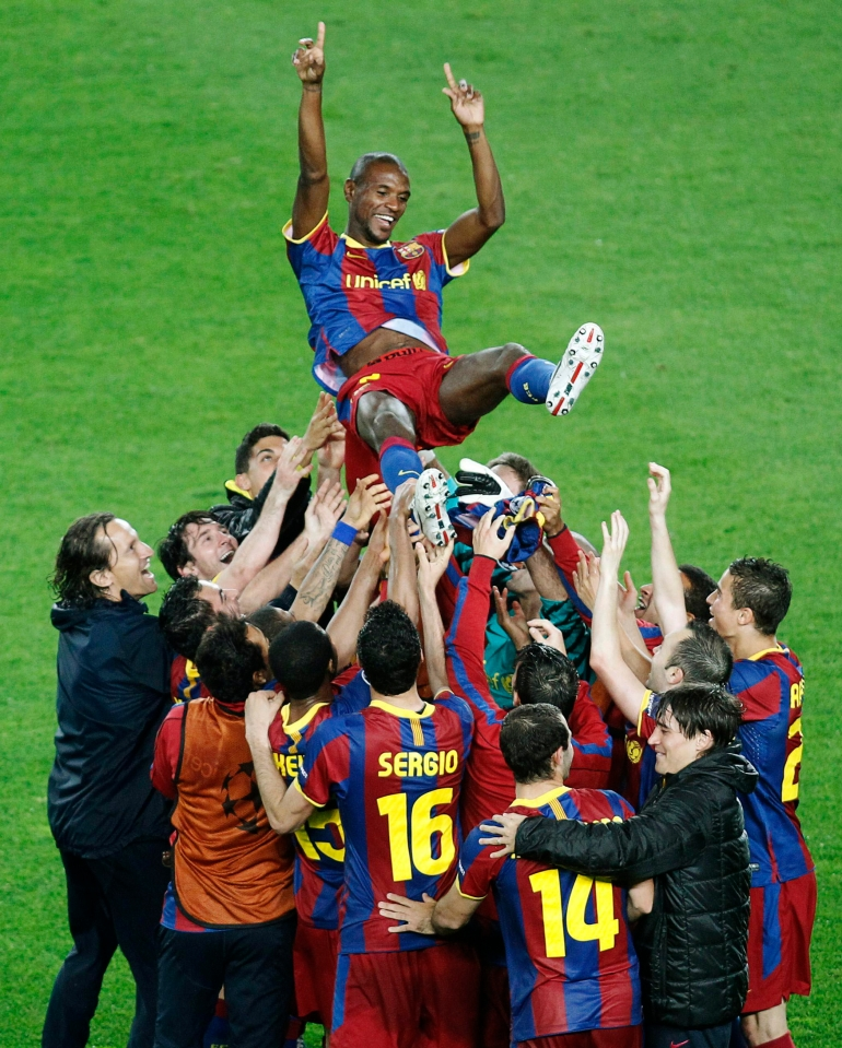 Abidal's return to the team after his first bout of cancer led to joyous scenes