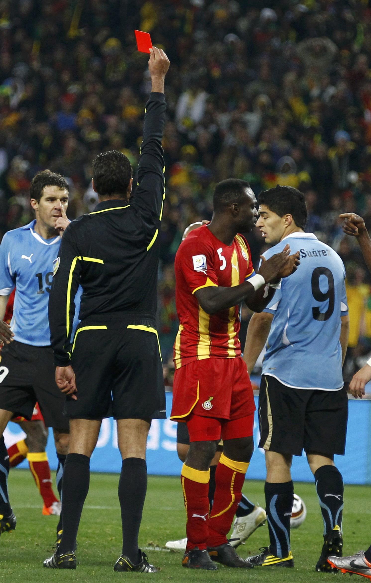 Suarez was sent off for the handball