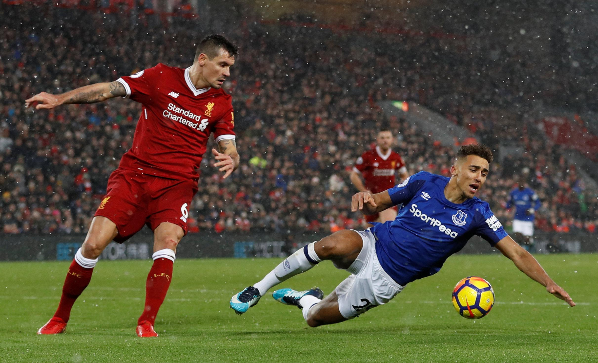 Lovren was adjudged to have fouled Calvert-Lewin