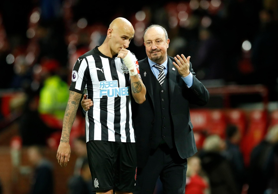 Rafa Benitez is without Jonjo Shelvey after his red card against Everton