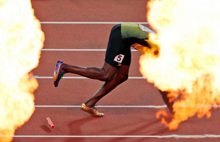 Bolt bowed of athletics in a ball of flames