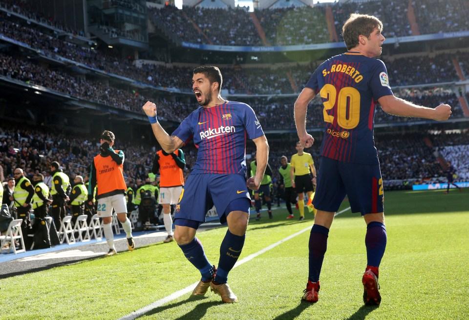 Suarez celebrates at the Bernabeu