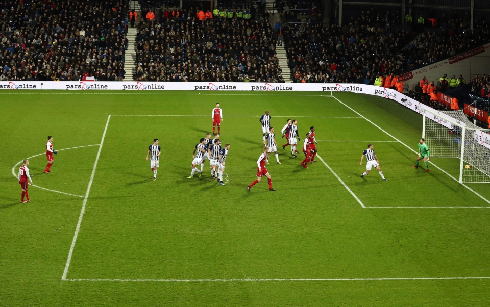 And his free kick takes two deflections on its way past Ben Foster