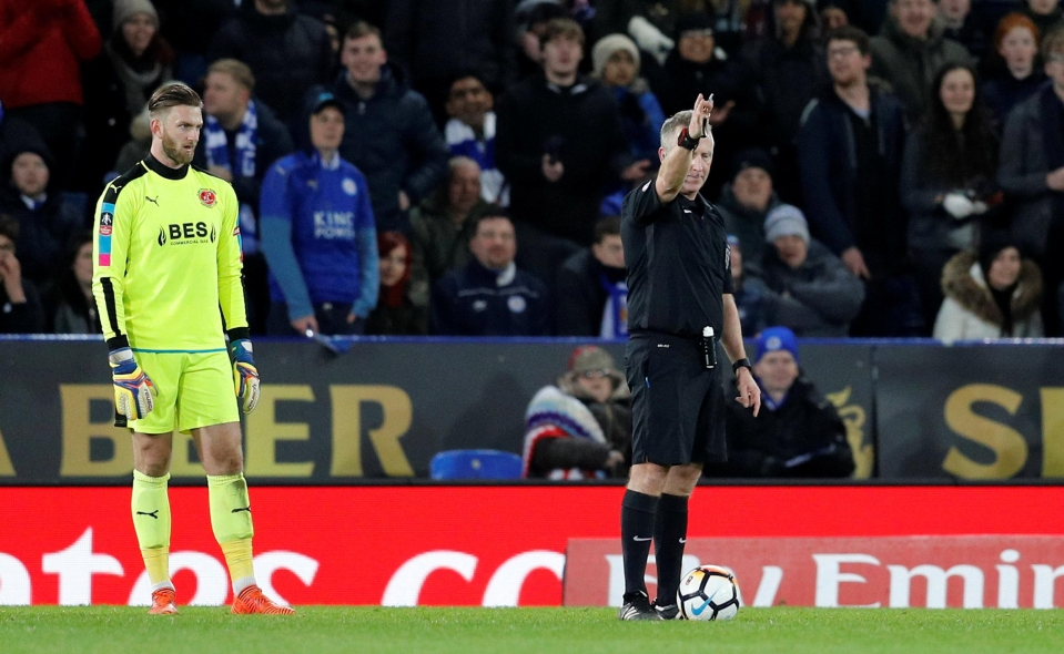 The assistant flagged for offside, but ref Jon Moss went to the VAR for clarification