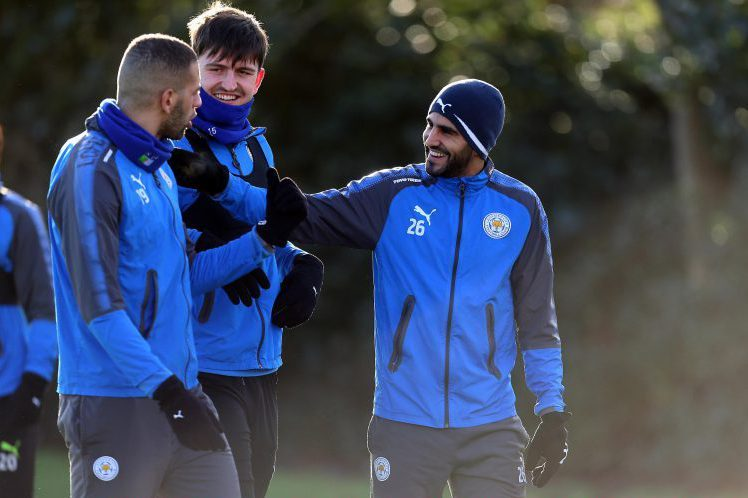 Mahrez and Slimani telling Harry Maguire exactly what they learnt on their scouting triip