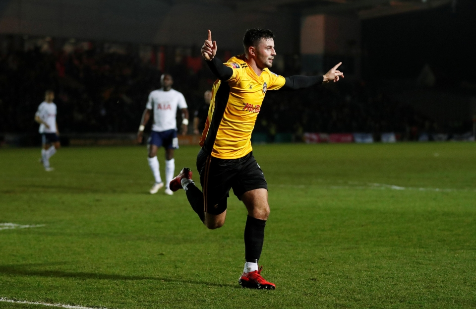 Padraig Amond opened the scoring against Spurs at Rodney Parade