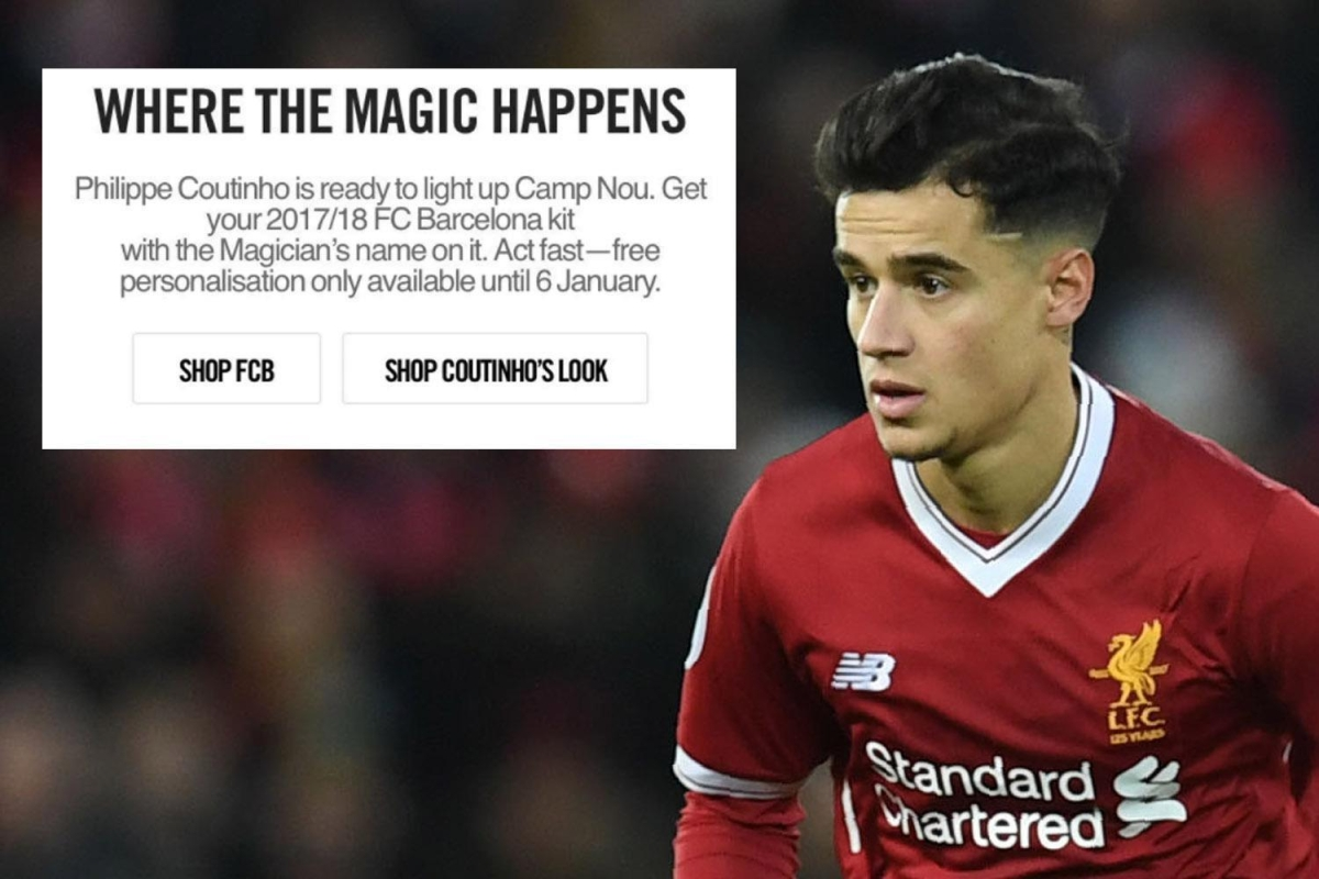 5724039cd53 Liverpool to demand  astronomical  fee for Philippe Coutinho after Nike  website blunder