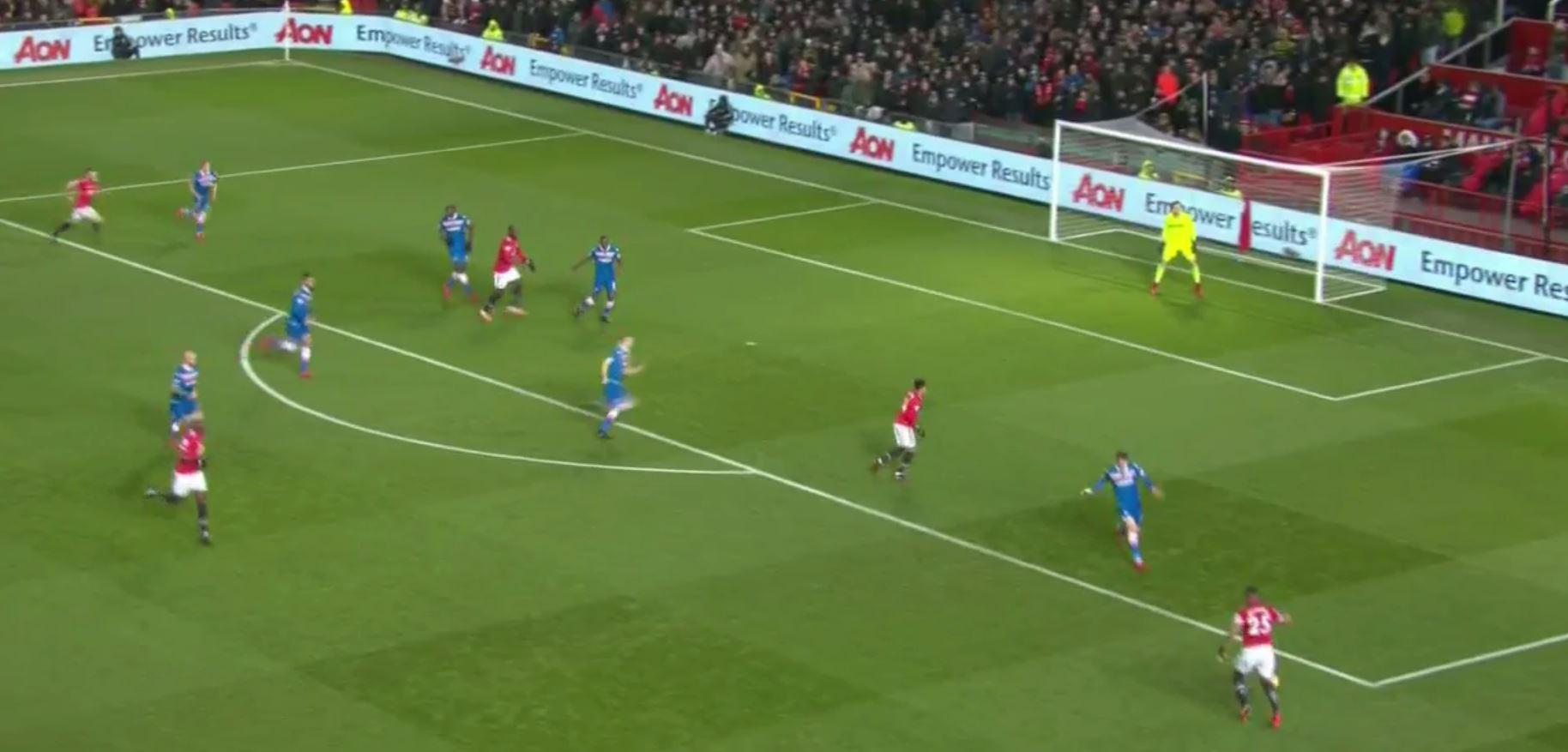 Valencia picked it up from Pogba on the right